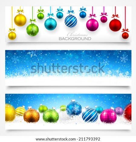 Collection of Christmas banners - stock vector