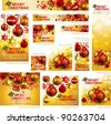 Collection of Christmas banners with baubles and place for text. Vector illustration. - stock vector