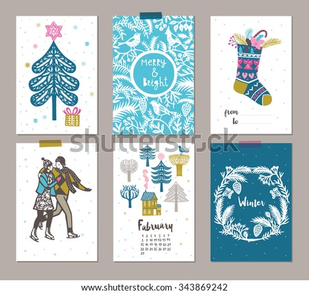 Collection of 6 Christmas card templates. Christmas Posters set. Vector illustration.  - stock vector
