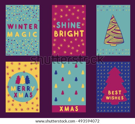 Collection of 6 Christmas card templates. Christmas Posters set. Vector illustration