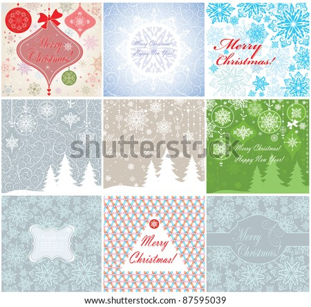 Collection of christmas cards - stock vector