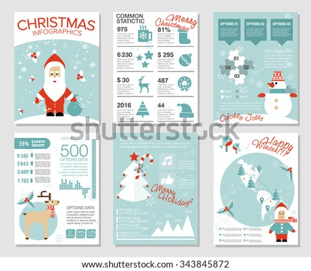 Collection of 6 Christmas cards. Infographics templates with Santa, deer, snowman, birds, Christmas tree, diagrams, map, icons. Flat vector illustration. Hipster cute modern style. - stock vector