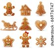 Collection of Christmas cookies - stock vector