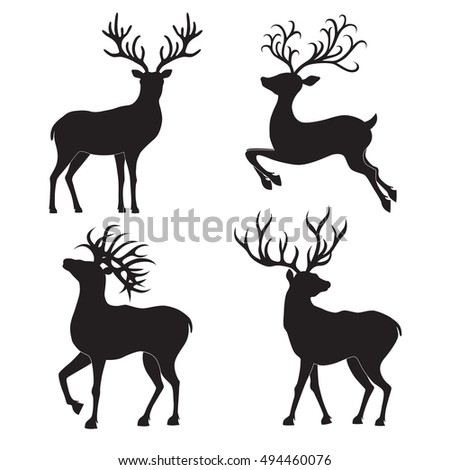 Collection of  Christmas  deer silhouettes isolated on the white background. Vector illustration.