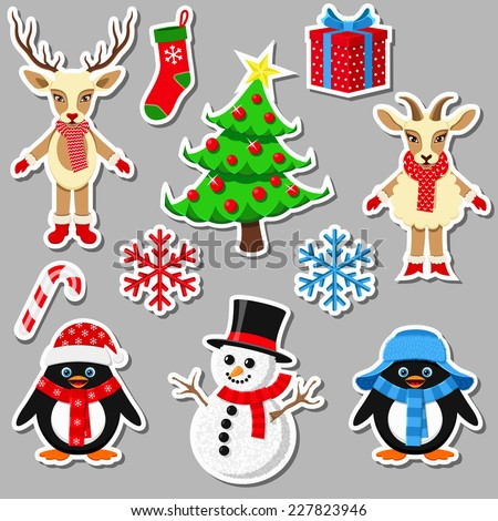 Collection of Christmas elements - stock vector