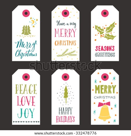 Collection of Christmas gift tags with hand lettering - stock vector