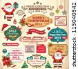 Collection of christmas ornaments and decorative elements, vintage frames, labels, stickers - stock photo