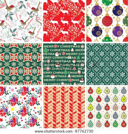 Collection of Christmas Patterns - stock vector