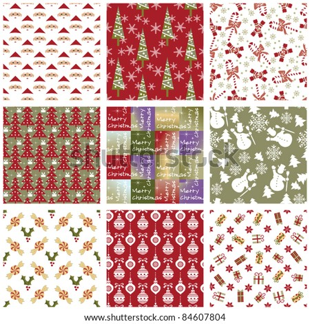 Collection of Christmas repeating swatches - stock vector