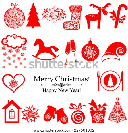 Collection of christmas retro elements isolated on white. Vector Illustration