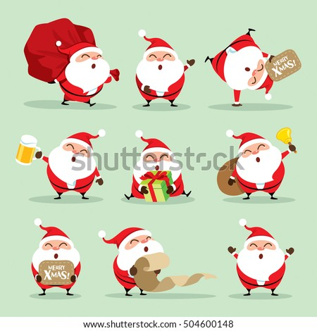 collection christmas santa claus set 1 stock vector hd royalty free 504600148 shutterstock - Christmas Santa Pictures