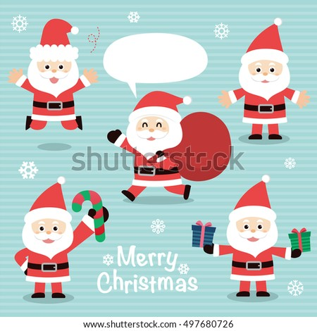 Collection of Christmas Santa Claus. vector illustration