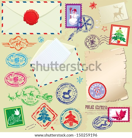 Collection of Christmas stamps, envelops, labels - Christmas and New Year postage set  - stock vector