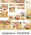 Collection of Christmas vintage banners with baubles and place for text. Vector illustration. - stock photo