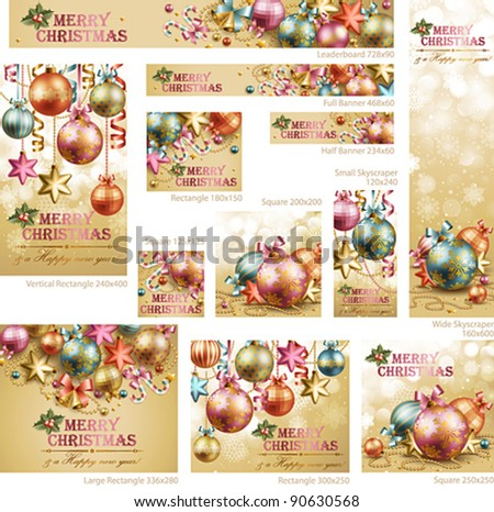 Collection of Christmas vintage banners with baubles and place for text. Vector illustration. - stock vector