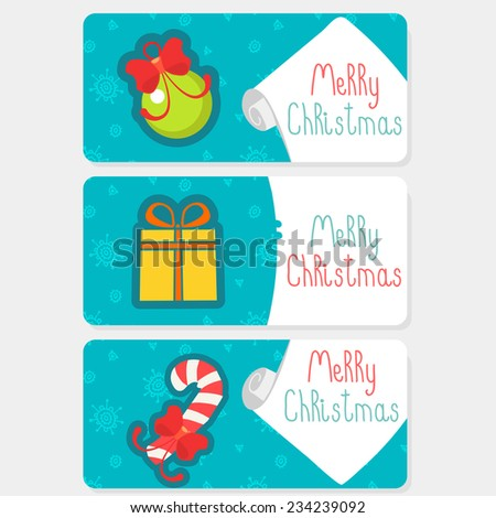 Collection of christmas vintage labels and stickers - stock vector