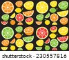 Collection of citrus slices - orange, lemon, lime and grapefruit, icons set, colorful isolated on black background, vector illustration. - stock vector