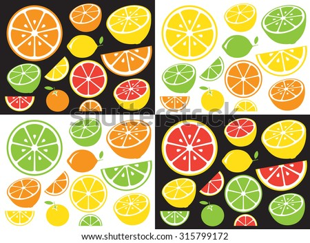 Collection of citrus slices - orange, lemon, lime and grapefruit, icons set, vector illustration. - stock vector