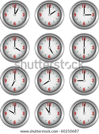 Collection of clocks showing each hour of the day illustration vector - stock vector