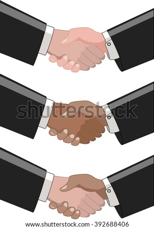 Collection of closeup of pairs of two multiracial businessmen shaking hands isolated