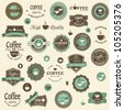 Collection of coffee labels and elements for design vintage style - stock vector