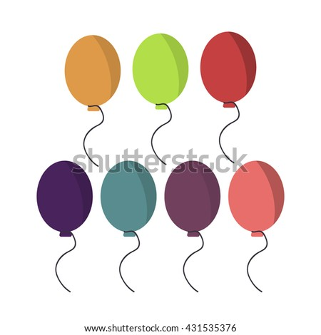 Collection of color balloons and happy birthday party balloons decorations. Party balloons carnival celebration. Colorful balloons birthday holiday decoration vector. - stock vector