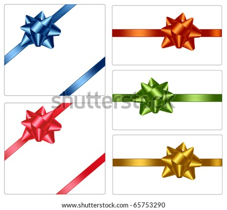 Collection of color bows with ribbons. Vector. - stock vector
