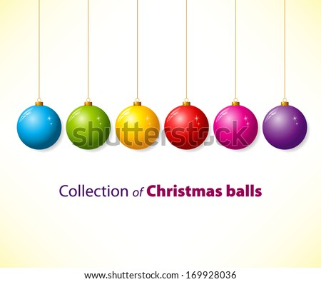 Collection of color christmas balls - stock vector