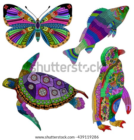 Collection of color hand drawn animals in zentangle stylized. Books or tattoos with high details isolated on white background. Penguin, butterfly, fish and turtle. - stock vector