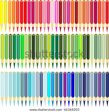 Collection of color pencils all shades red, dark blue and green