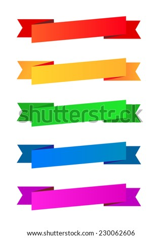 Collection of color ribbons, Red, Orange - stock vector