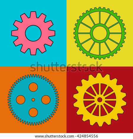 Collection of color vector cog wheels. - stock vector