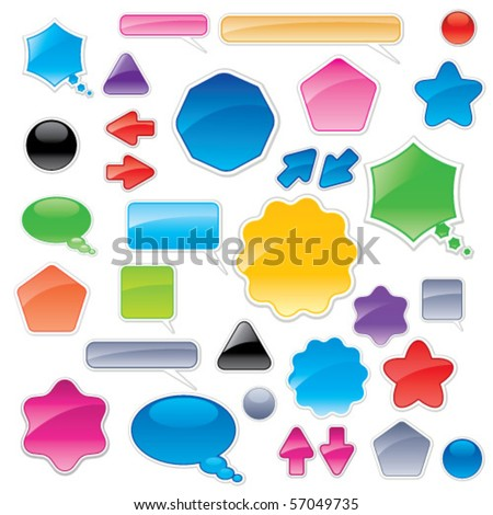 Collection of color web elements. Perfect for adding your own text or icons. - stock vector