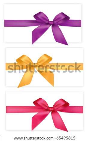 Collection of colored bows with ribbons. Vector. - stock vector