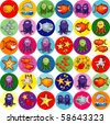 Collection of colored icons with fish and marine subjects, vector - stock vector