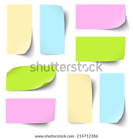 Collection of colored note / memo blank - stock vector