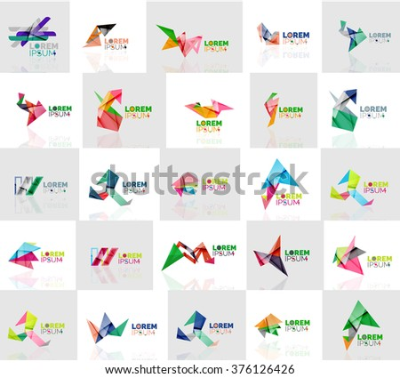 Collection of colorful abstract origami logos - stock vector