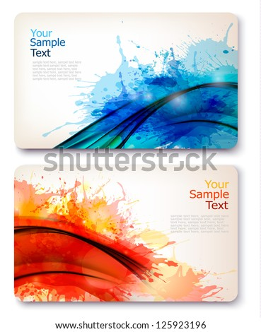 Collection of colorful abstract watercolor banners. Vector illustration. - stock vector