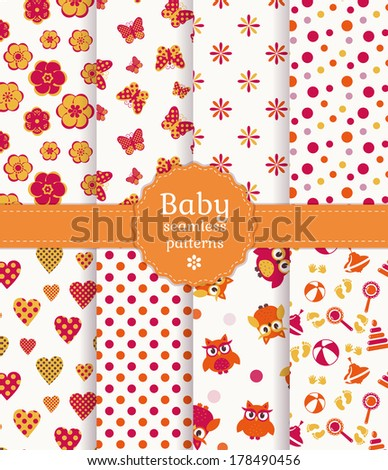 Collection of colorful baby seamless patterns in white, orange and pink colors. Vector illustration. - stock vector