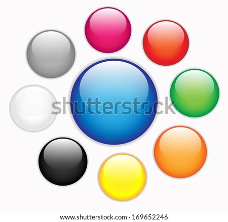 Collection of colorful blank round glossy web buttons VECTOR - stock vector