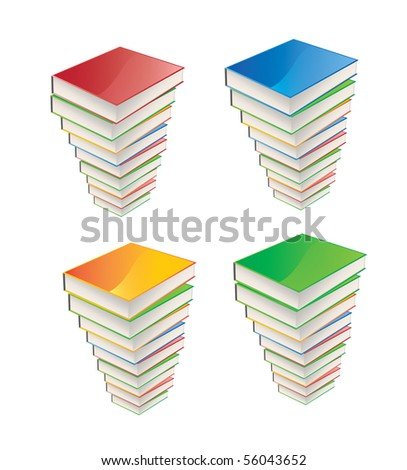 Collection of colorful books - stock vector