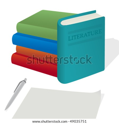 Collection of colorful books in vector illustration