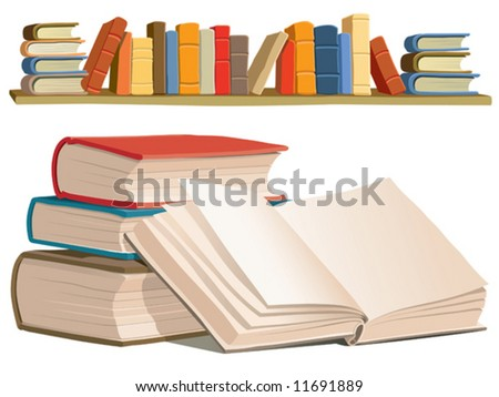 Collection of colorful books on white background. - stock vector