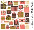 Collection of colorful Christmas/birthday presents isolated on white - stock vector