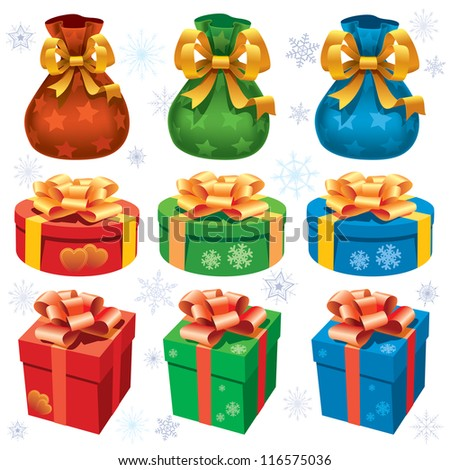 Collection of colorful christmas gifts on white background - stock vector