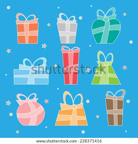 Collection of colorful Christmas present boxes. Decorate items.Vector Illustration.