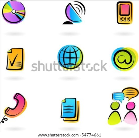 Collection of colorful  communication icons - 2 - stock vector