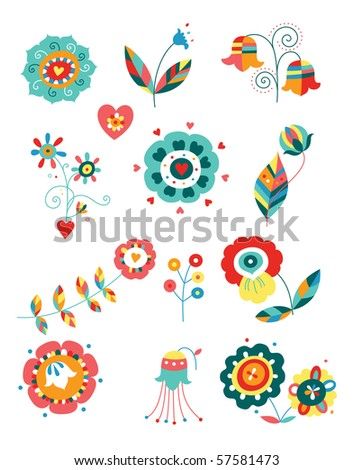 Collection of colorful decorative flowers. - stock vector