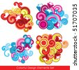 Collection of 4 colorful design elements - stock vector