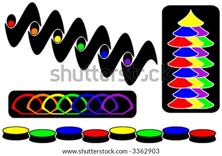 collection of colorful design elements for vignettes or backgrounds - stock vector